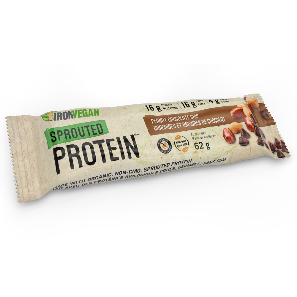 : Iron Vegan Sprouted Protein Bar, Peanut Chocolate Chip